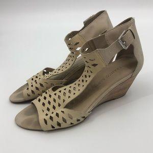 Franco Sarto Kale Bone Cream Wedge Sandals Cutouts